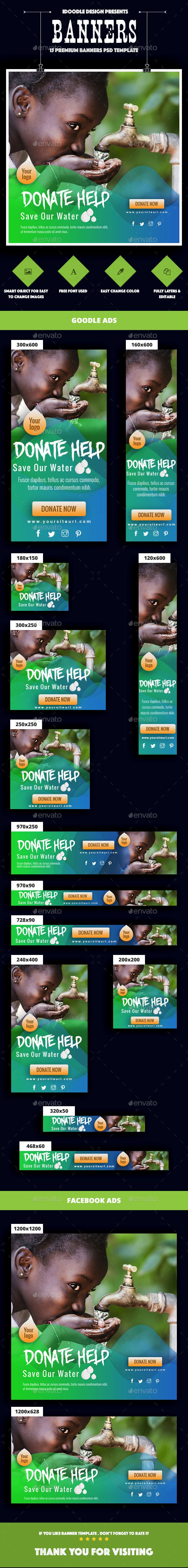 nonprofit ngo charity fundraising banner ads template psd