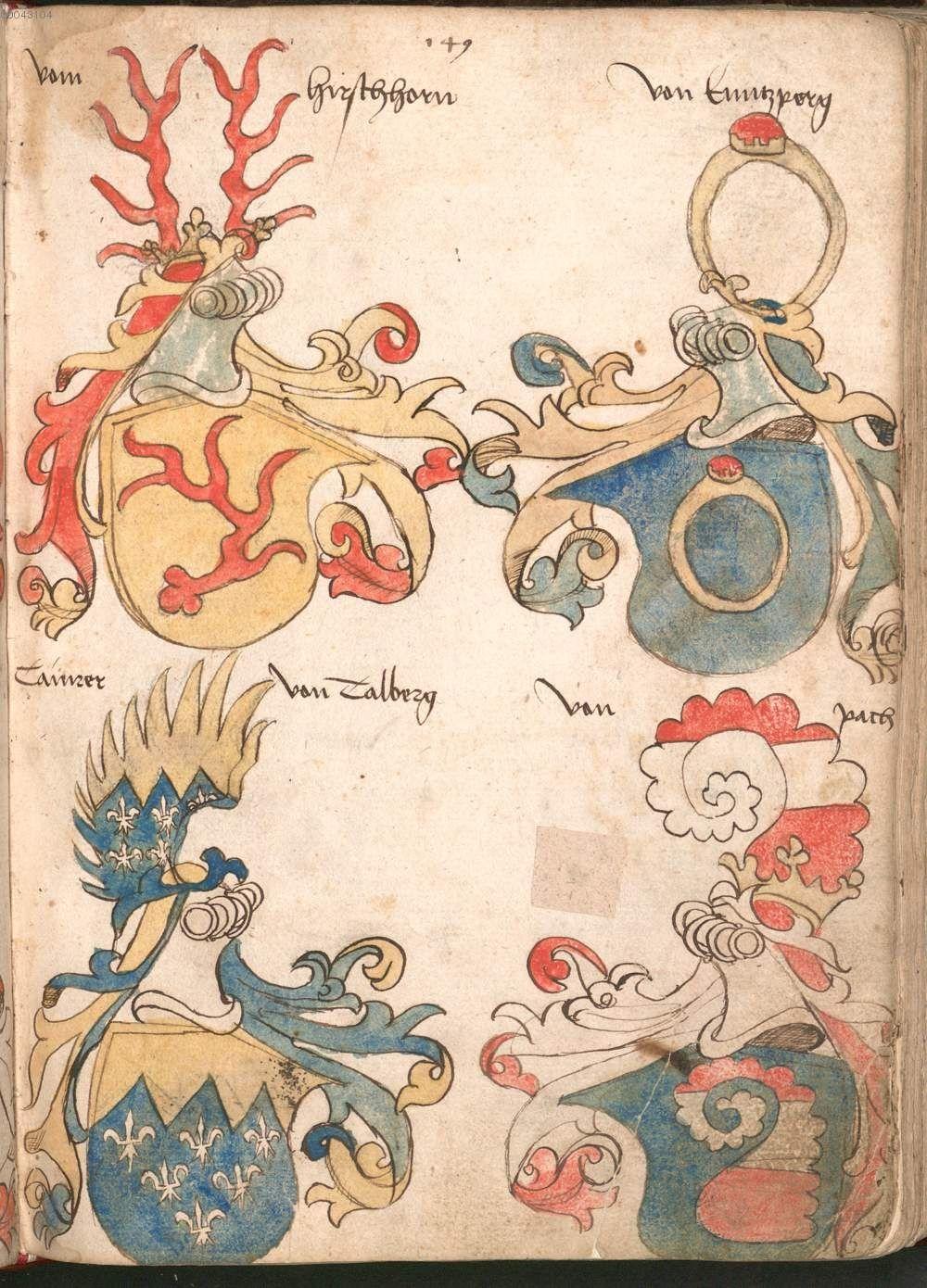 Wernigeroder (Schaffhausensches) Wappenbuch Süddeutschland, 4. Viertel 15. Jh. Cod.icon. 308 n  Folio 149r