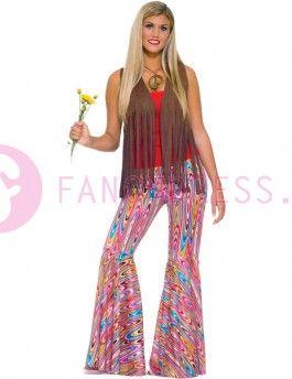 Jaren '60 stijl Broek met Psychedelische kleuren.    Maten voor dit kostuum zijn:  One Size: maat 38 - 40