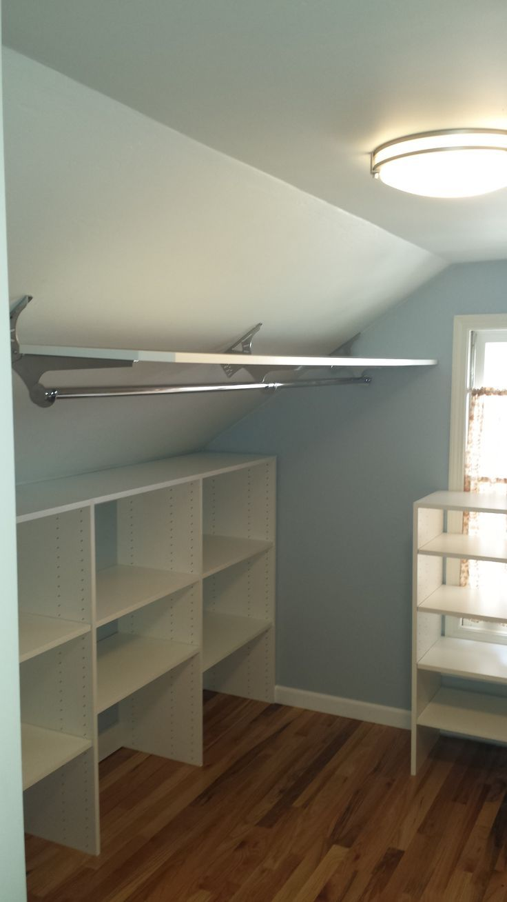 Closet Organizers Home Organization Angled Brackets Used To Hang Clothes In An Attic
