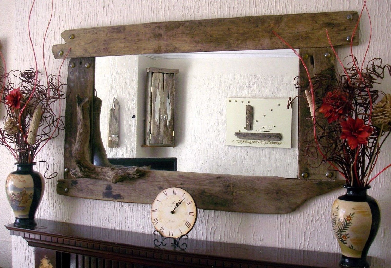 Large Overmantel Rustic Driftwood Mirror Amazon Co Uk Kitchen