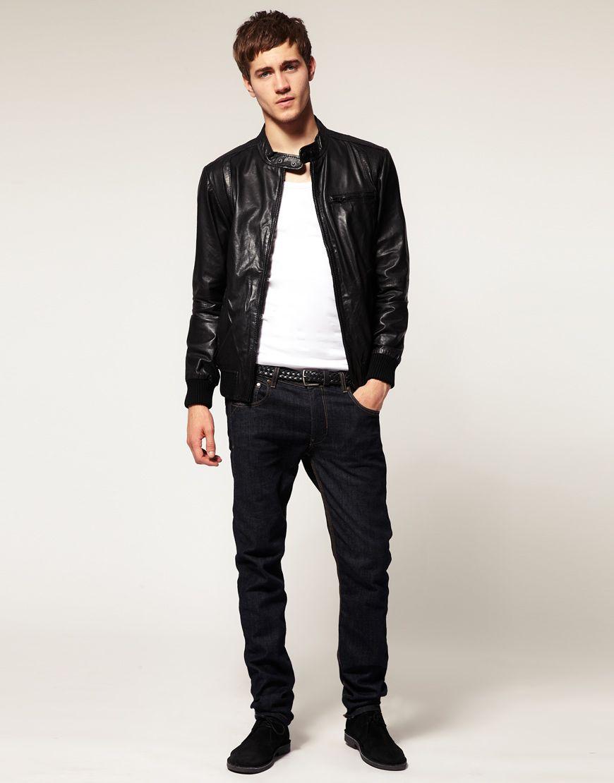 Leather jacket fashion - Men S Fashion Handsome Fashion Men S Press Stud Tab Leather Jackets