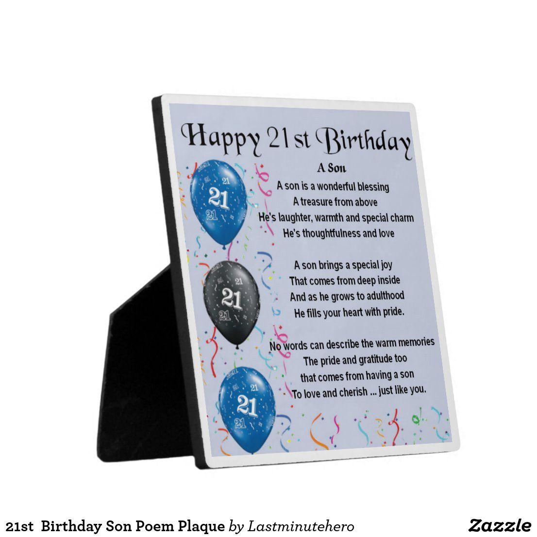21st Birthday Son Poem Plaque Zazzle.co.uk Son poems