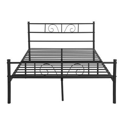 Red Barrel Studio <p>Bed Frame with Headboard Footboard Heavy Duty Slat No Box Spring</p><strong>Features:</strong><ul><li>easy to assemble.</li><li>Enough space to put storage boxes or drawers to collect clothes</li><li>Metal beds perfect gift for anyone who needs a fine Victorian bed frame or wants to upgrade their current one</li><li>Metalbed frame one box packing and easy assembly</li><li>no need box spring,metal features providing solid support for the mattress.</li><li>Sturdy bed frame str