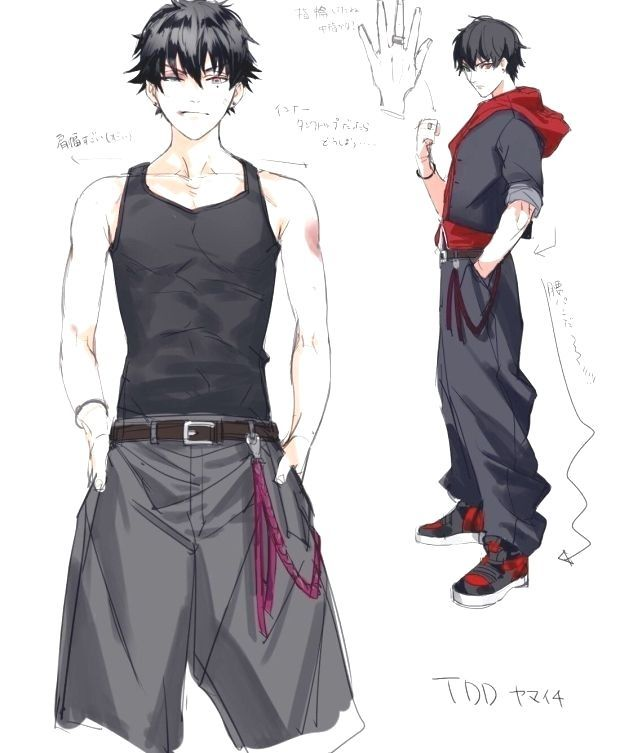 Twitter - What if the black inner of Yamaichi is a tank top? -  #animeaesthetic #animeboy #animedraw… | Anime drawings boy, Anime character  design, Anime outfits