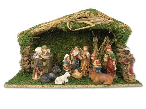 Nativity Stable Set Creche And 11 Piece Figurines 5054 5070 By Banberry Designs Http Www Amazon Com Dp B004gl1r1k Nativity Set Nativity Stable Nativity