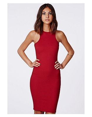 5144c2bb35b1 Missguided Midi Dresses, Price: GBP 14.99, Zara Ribbed Racer Midi Dress Red