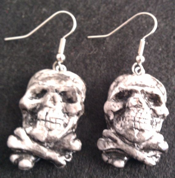 Pirate Earrings skull and cross bones hooks or by msformaldehyde, $6.00