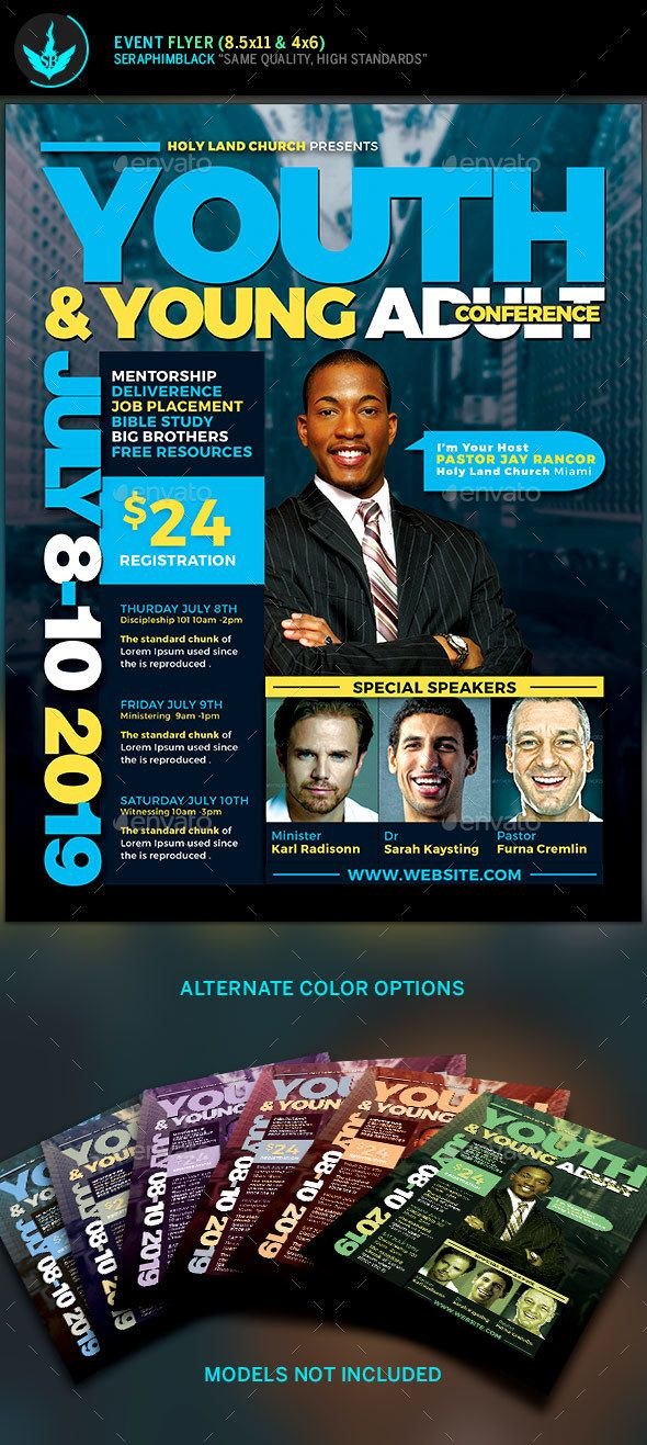 Youth  Young Adult Conference Flyer Template  Flyer Template