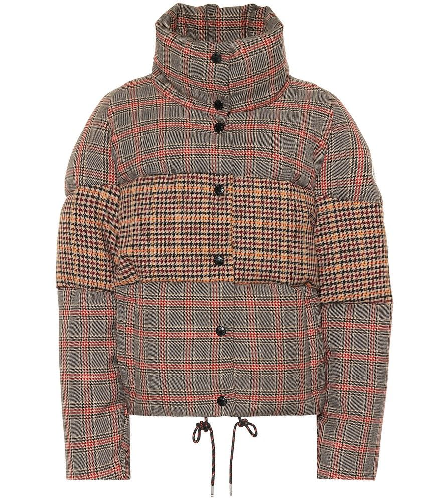 Wool Blend This Down Jacket Checked Moncler BdoCrxe