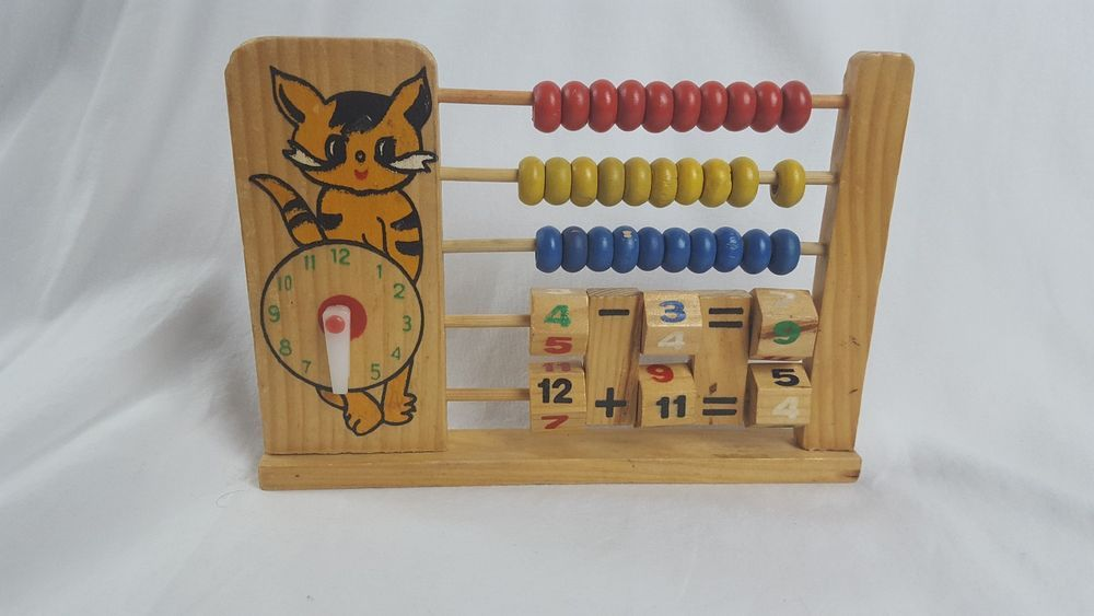 Details About Vintage Panda Wooden Colorful Clock Math