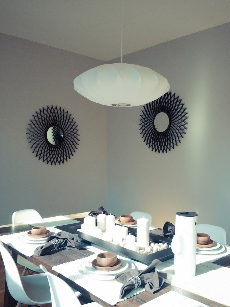 George Nelson criss-cross saucer bubble pendant in dining room.
