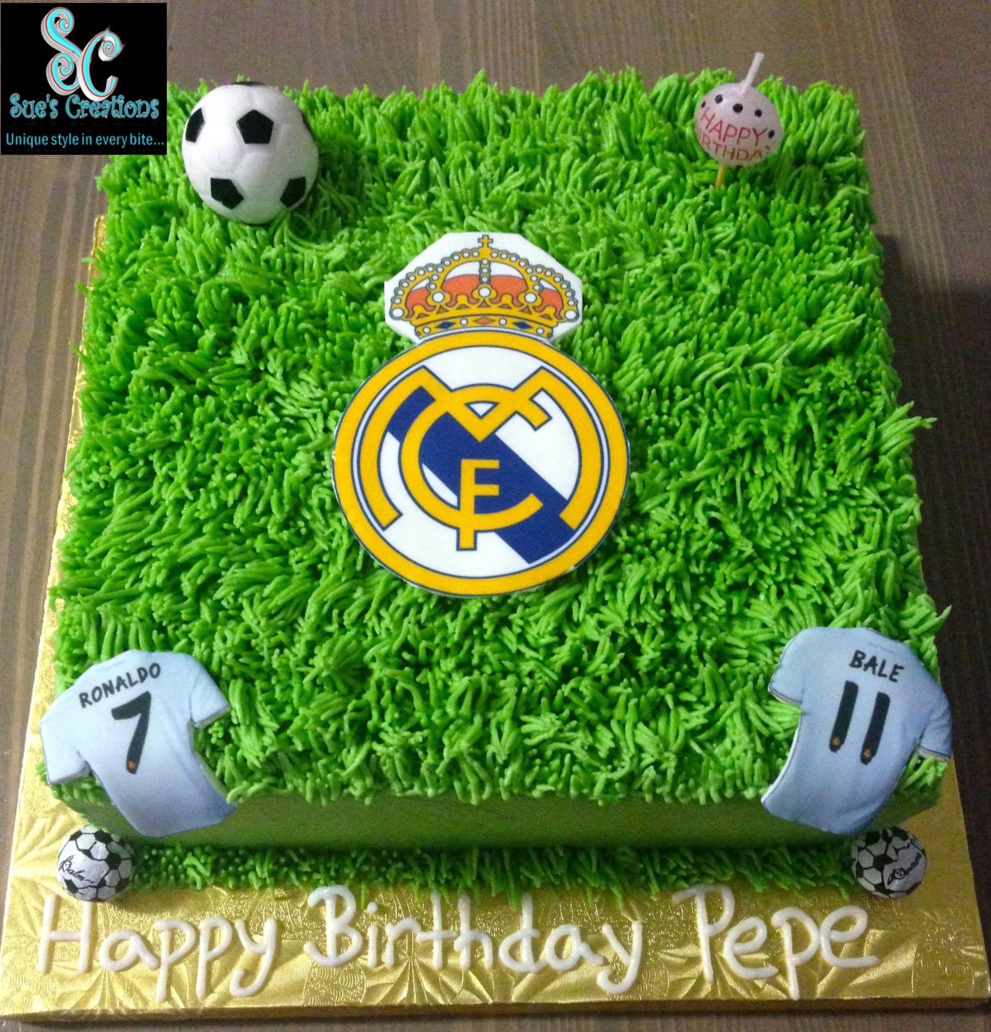 Soccer Real Madrid Fan Birthday Cake Chiku Pastel De