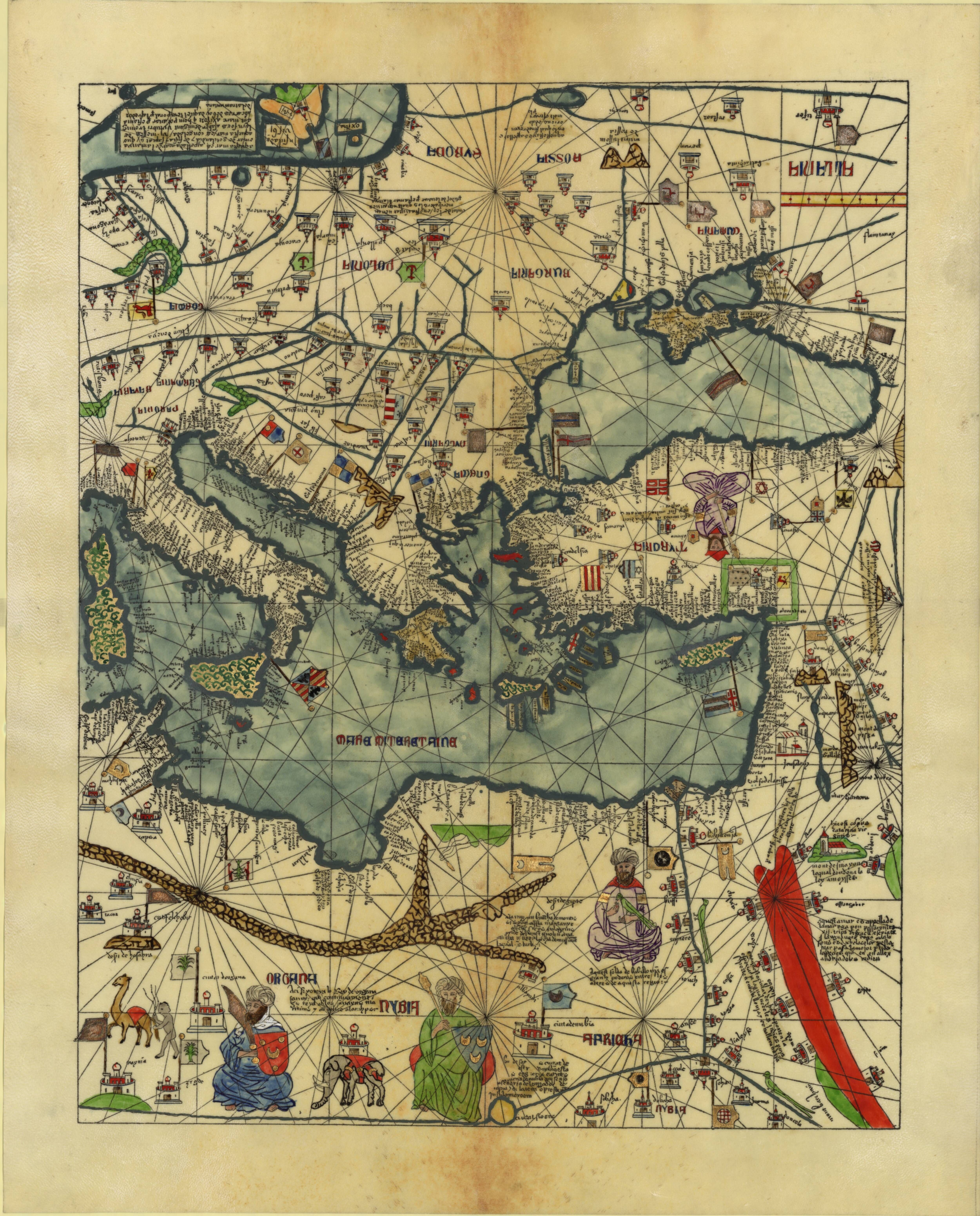 Atlas catalan de 1375 eastern mediterranean western for Atlante compass