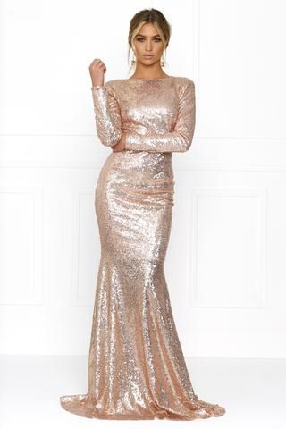 3f549290d534 Honey Couture VIVA Rose Gold Sequin Long Sleeve Maxi Formal Gown Dress