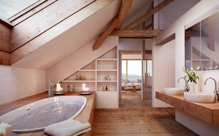 Badezimmer Auf Dem Dachboden Offenes Gestaltungskonzept Weiss Mit Holz Kombiniert Whirlpool Drin Badezimmer Dachgeschoss Badezimmer Rustikal Rustikale Bader