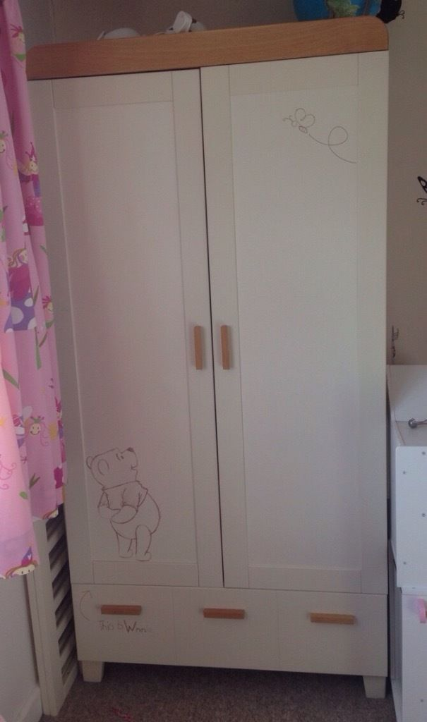 Used Cosatto Winnie The Pooh Sketchbook Nursery Furniture Set