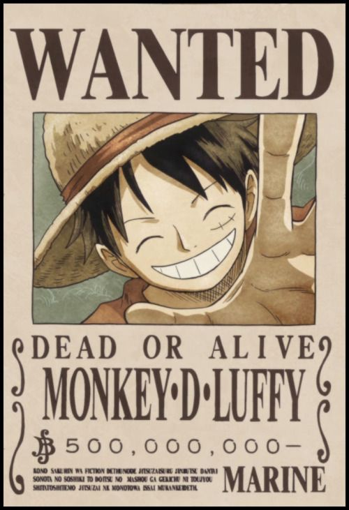 Image Result For Luffy Wanted Poster 500 Million Bajak Laut Topi Jerami Luffy
