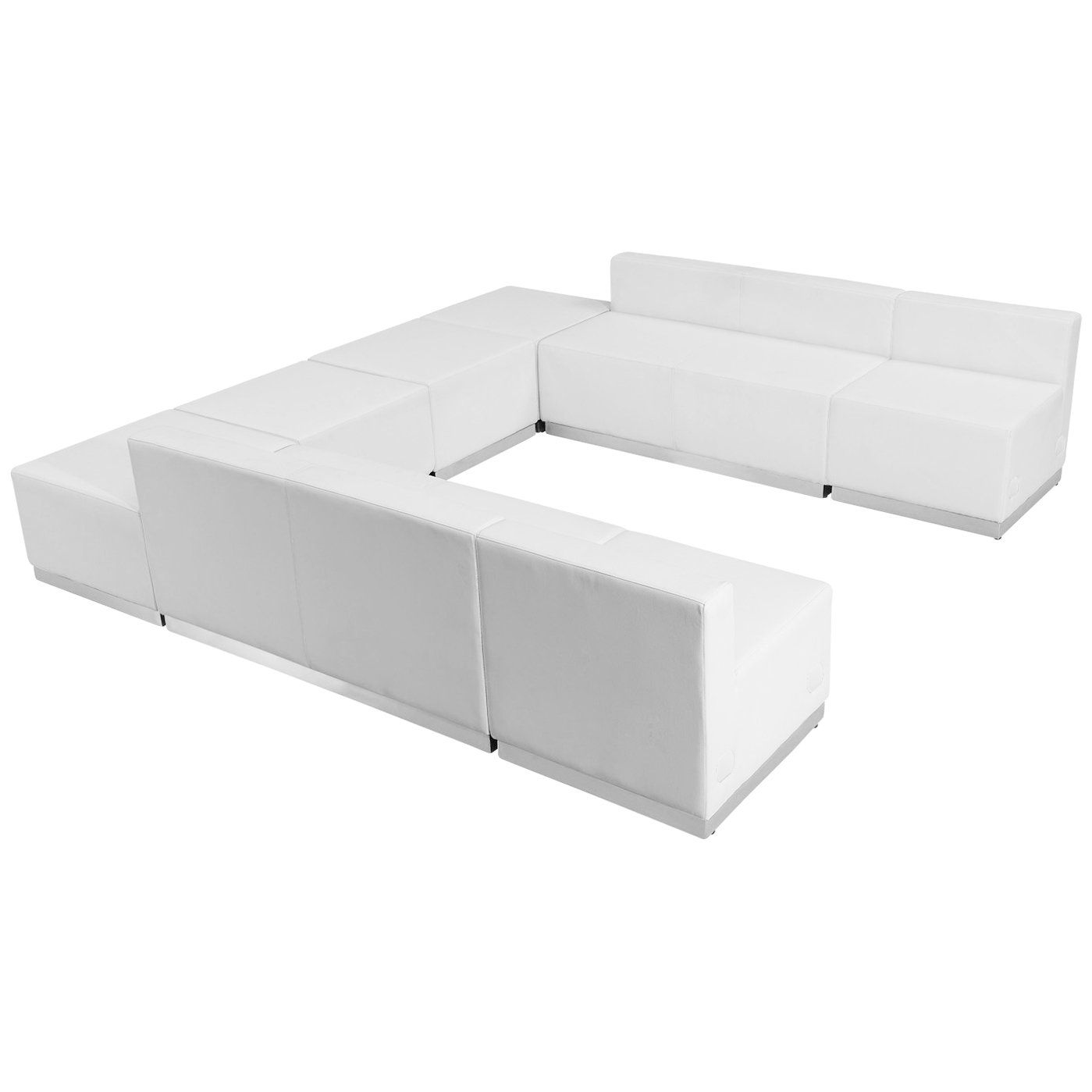 Flash Furniture Hercules Alon Series Melrose White Leather Reception Configuration 8 Pieces In 2020 White Living Room Set Flash Furniture Furniture
