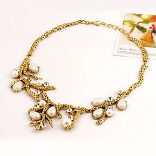 Mermaid Costume Wedding Evening Gold Coral Branch Pearl Rhinestone Necklace