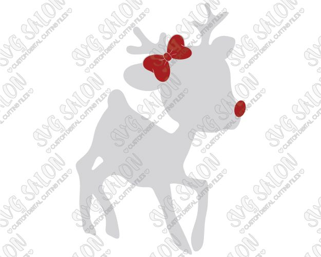 Rudolph\'s Girlfriend Clarice Girl Reindeer with Bow Cut File in SVG ...