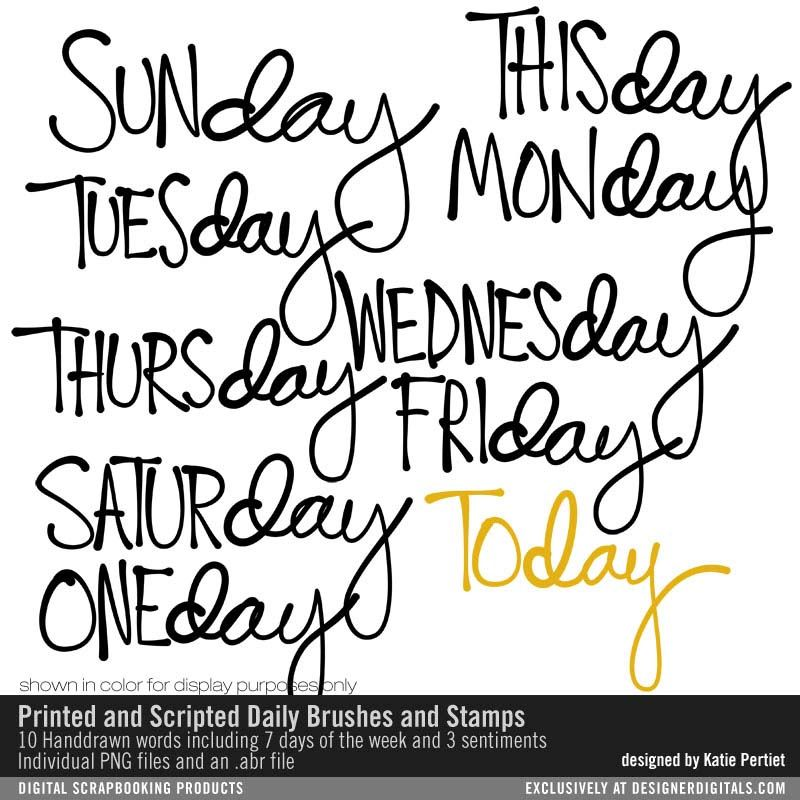 Printed and Scripted Daily Brushes and Stamps #handwritten