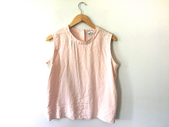 a4a2fd4b38265 90s Pale Pink Silk Shell Button Back Sleeveless Blouse Light Tank Top Round  Neck Minimal Square