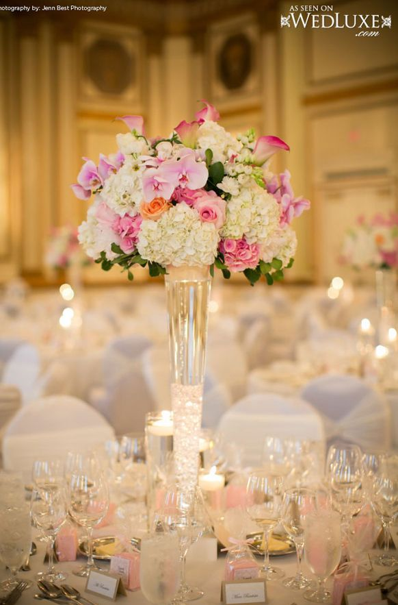 Tall wedding reception centerpieces weddings romantique for Center arrangements for weddings