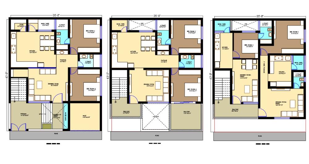35 X 43 Apartment Furniture Plan Autocad File Residential Building Design Floor Plan Design House Design Pictures