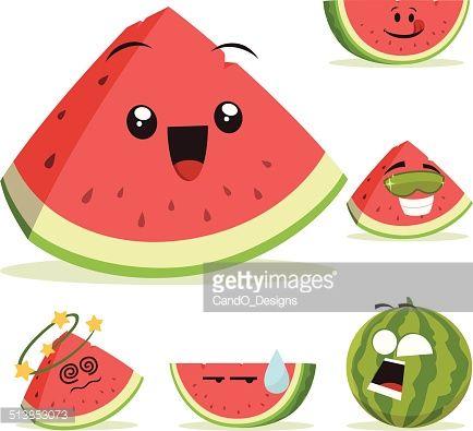 Cartoon Watermelon Set Including Watermelon Cartoon Watermelon Illustration Watermelon Drawing