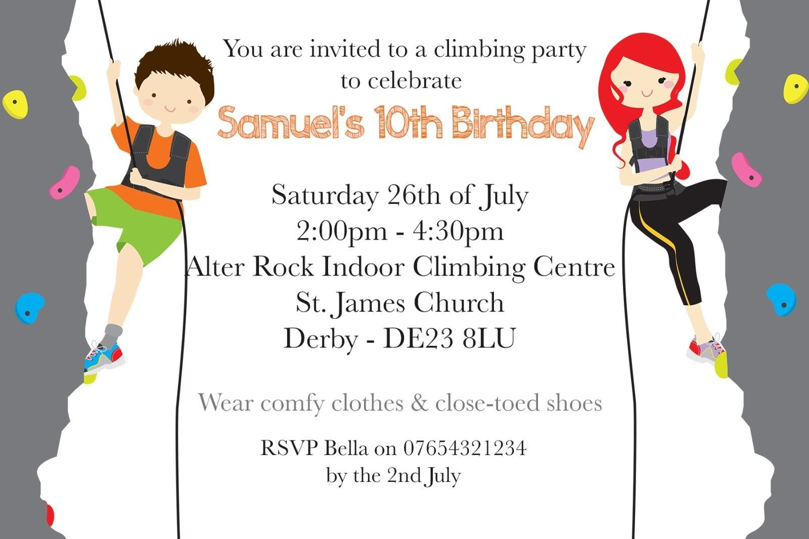 Personalised boy/girl #indoor rock #climbing birthday party #invite ...