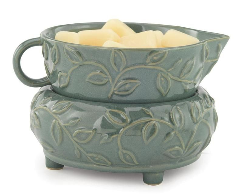 Herbal Mint Ceramic Dish and Warmer, available at www.keepsakecandles.com/melters.aspx.