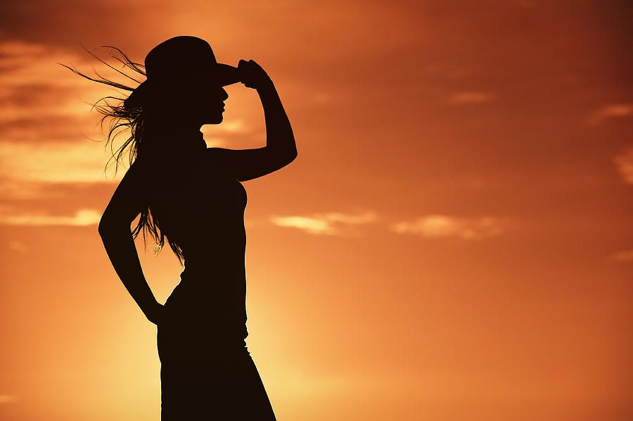 windy cowgirl silhouette photo ideas silhouettes