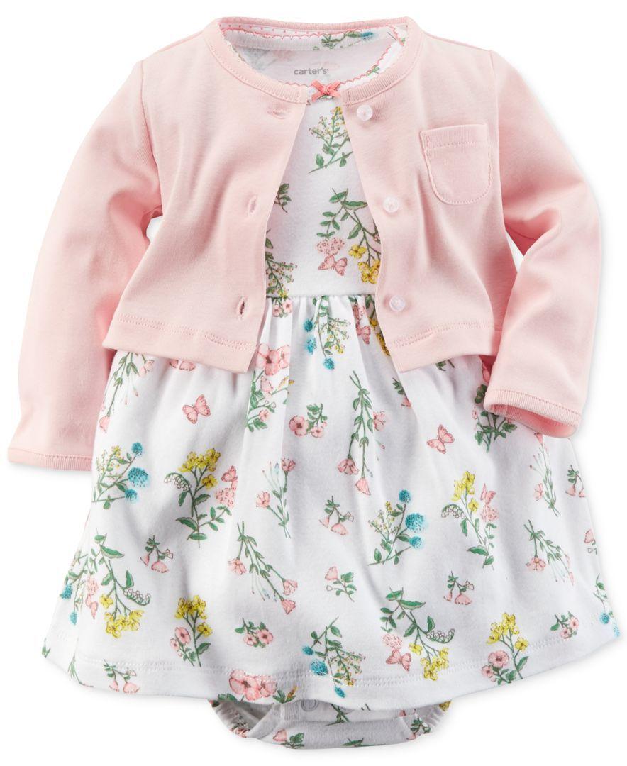 Carter S Baby Girls 2 Piece Cardigan Amp Floral Dress Set