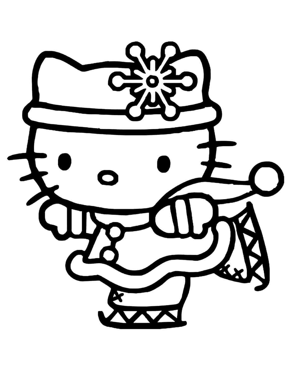 Hello Kitty Christmas Ice Skating Coloring Pages Printable And Book To Print For Free Find More Online Kids Adults Of