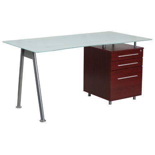 Flash Furniture Glass Computer Desk, Flash Furniture Frosted Computer Desk With 3 Drawer Pedestal White