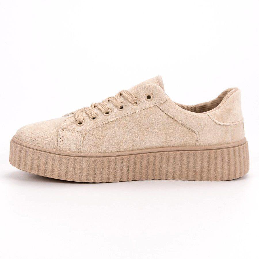 Seastar Bezowe Zamszowe Creepersy Bezowy Platform Sneakers Puma Platform Sneakers
