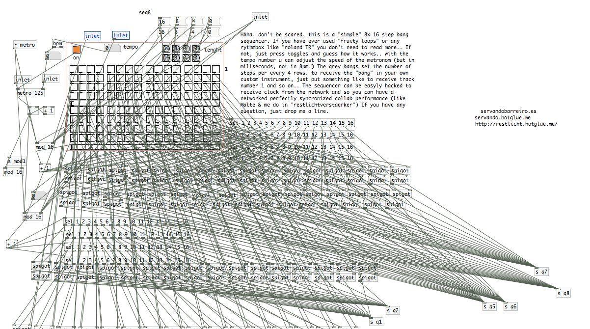 Servando's Pure Data sequencer patch | mutek | Music, Pure data