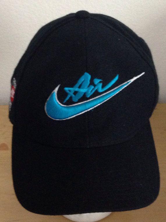 c7e4beb9fc9d Nike Team Sports Retro Swoosh 90s Black Snapback Baseball Cap Hat on Etsy