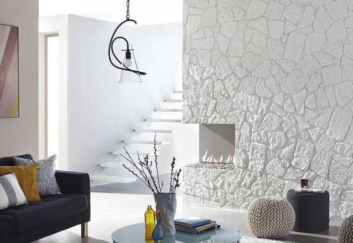 Steinwand im Wohnzimmer \u2013 30 Inspirationen von Klimex #inspirationen - wohnzimmer design steinwand