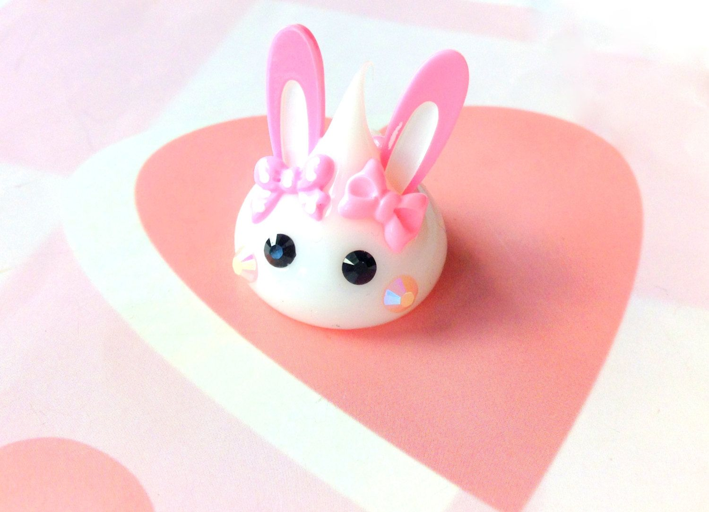 Kawaii Squishy Bunny : White Bunny Hoppe Chan Figurine, Pink Bunny Ears, Kawaii Miniature, Kawaii Bunny Figurine ...