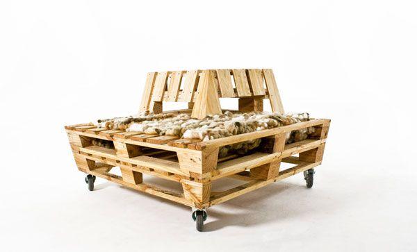 Elegant Rechteckiges Design Sitzbank Aus Holzpaletten Komfort Garten