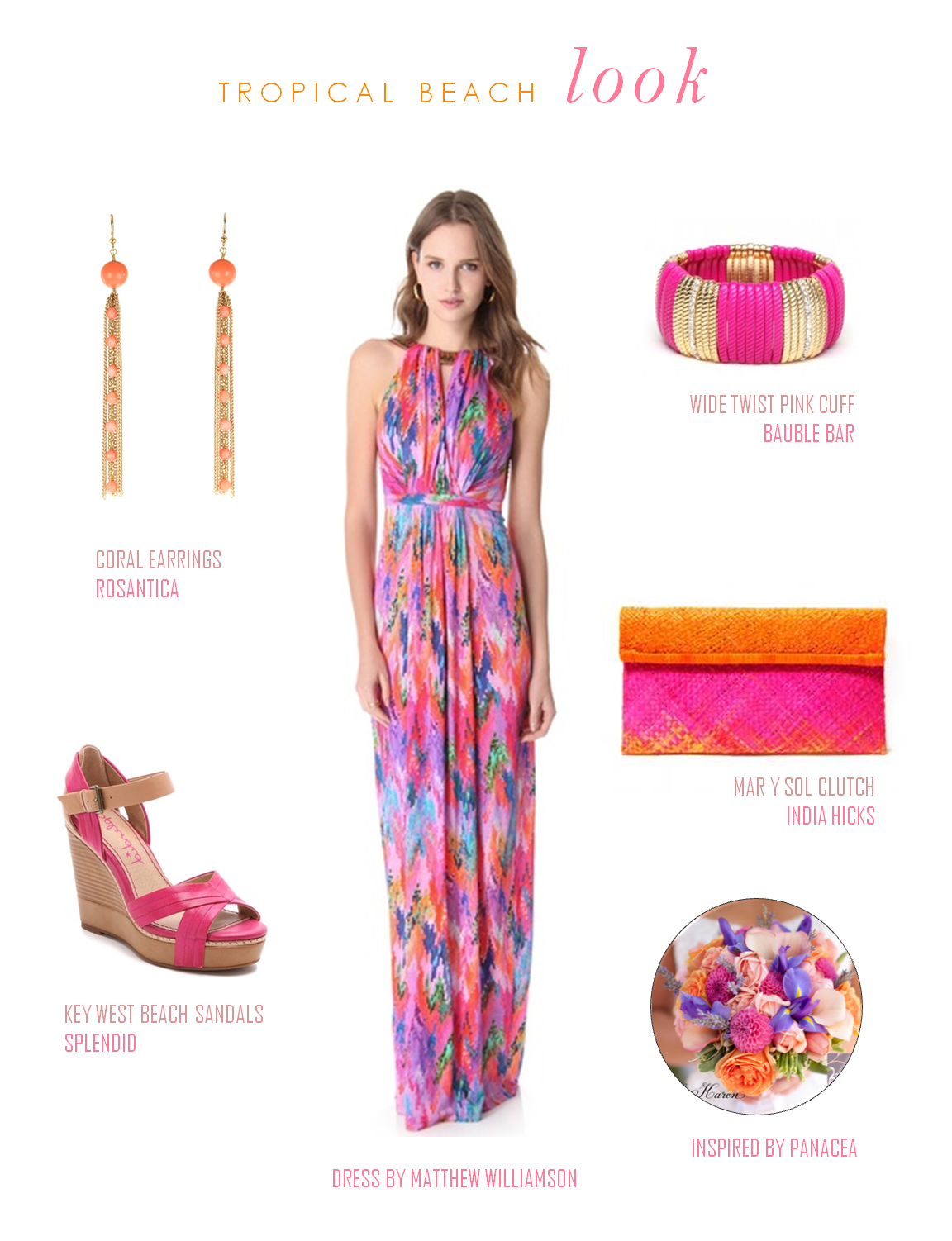 A Brightly Colored Beach Wedding Guest Look Featuring Inspiration By Panacea Floral Design