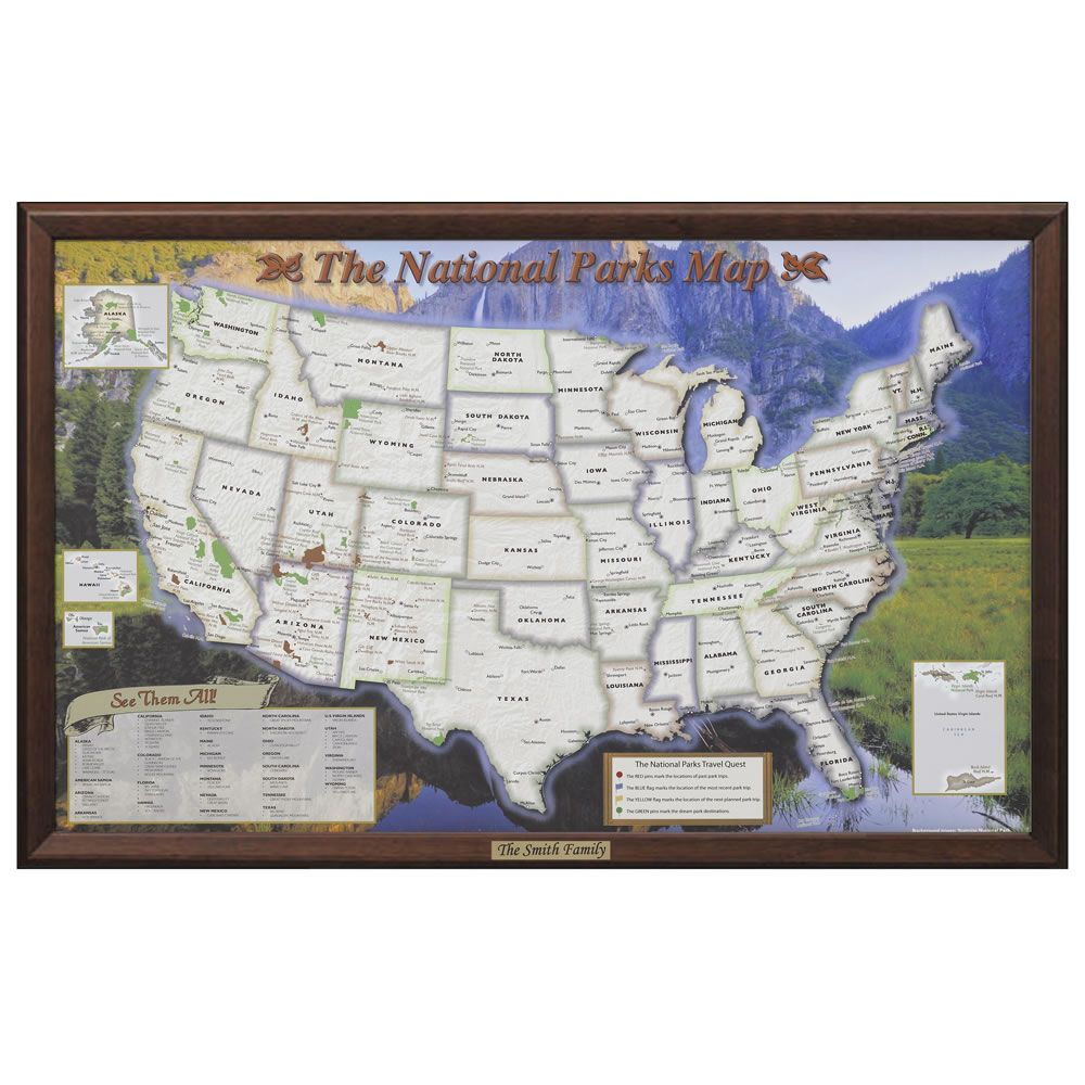 The Personalized US National Parks Map Hammacher Schlemmer - Us travel map for rv