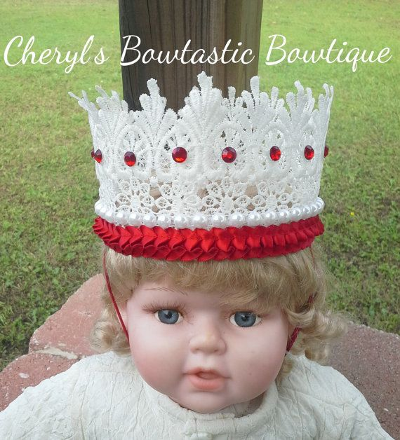 Lace Crowns- White and Red OR Gold and White crowns on elastic band CherylsBowtasticBows