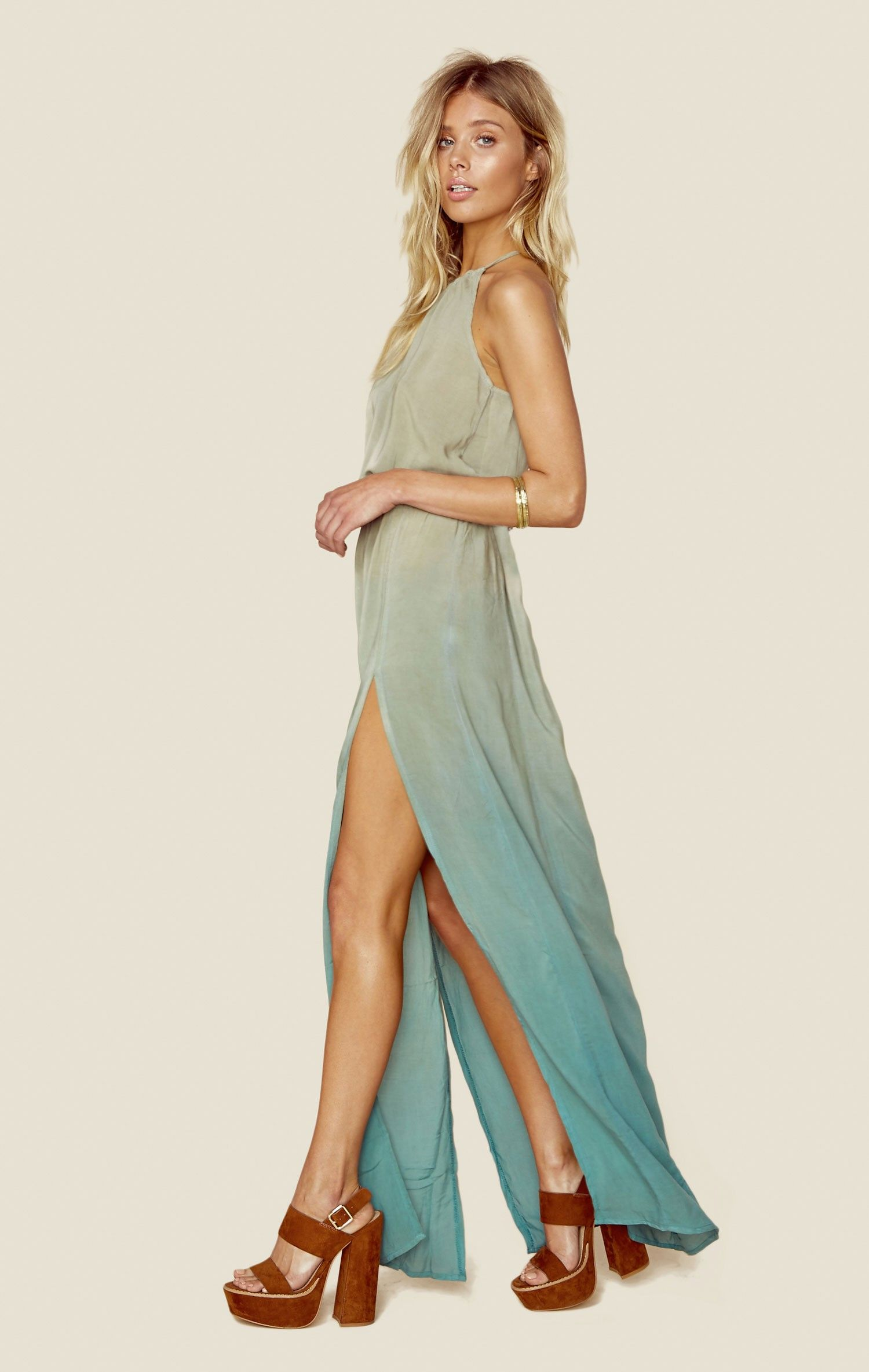 slit halter dress clothes elastic waist and boho