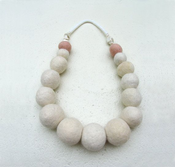 hand made felted necklace 'pearl' www.dellalana.com