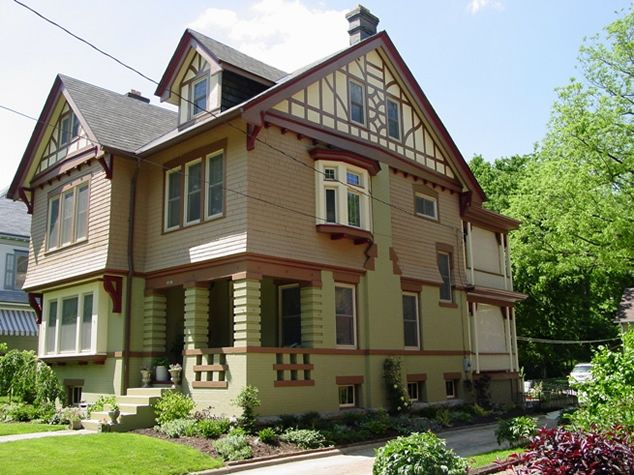 English tudor revival bungalow exteriors pinterest for Historic craftsman house colors