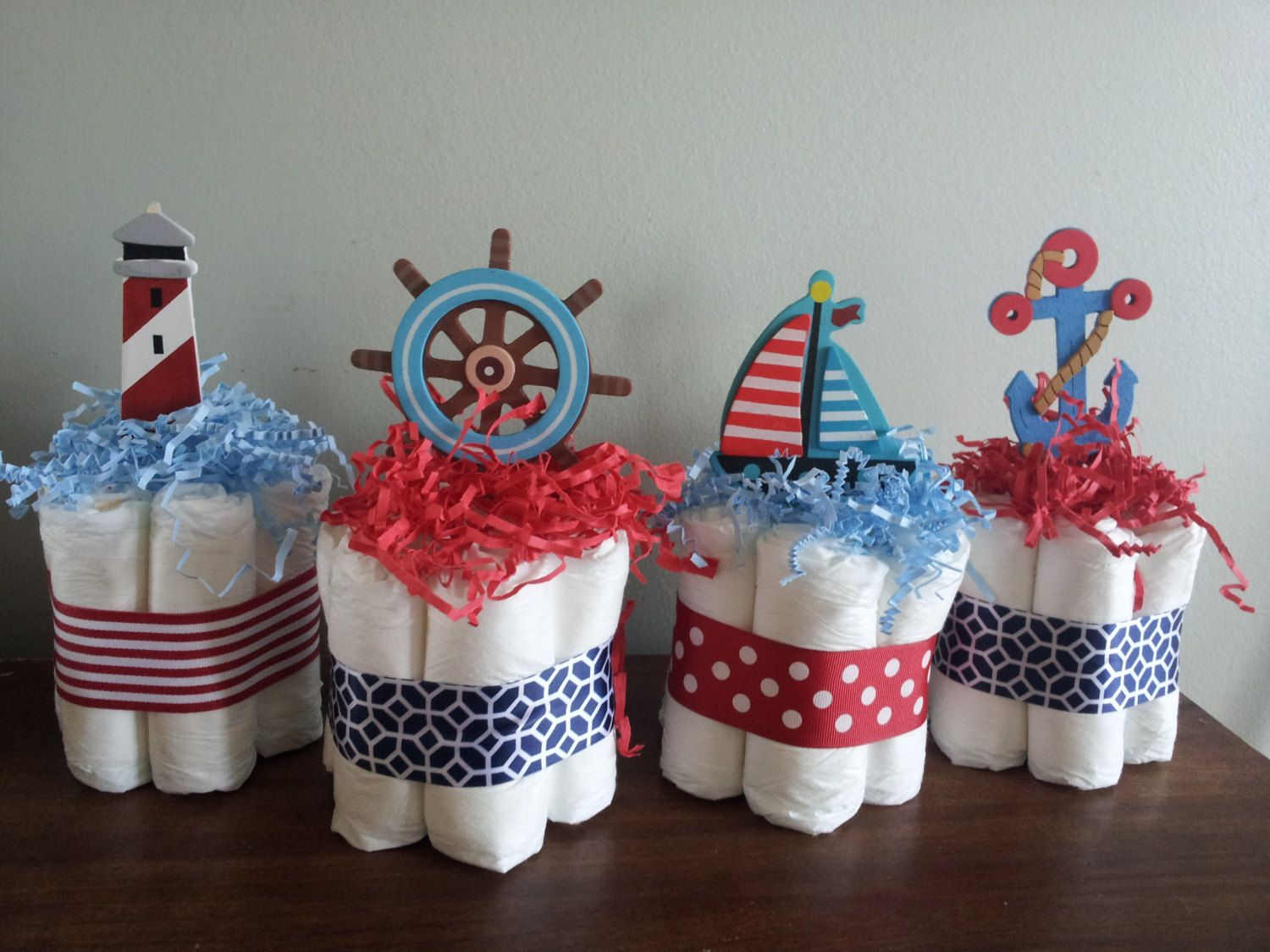 4 Nautical Theme Mini Diaper Cakes, Baby Shower Centerpiece