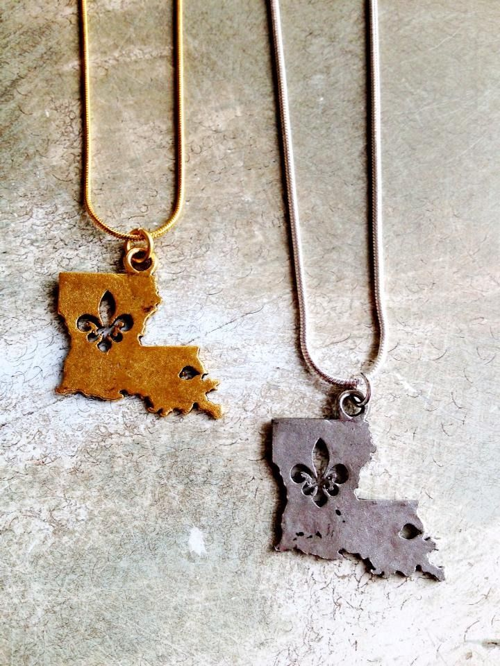 Fleurty Girl - Everything New Orleans - Hammered Metal Louisiana with Fleur de Lis Inset Necklace